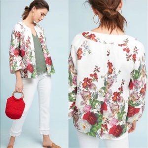 Anthropologie Eva Franco rose linen coat jacket